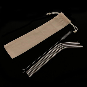 Многоразовые металлические соломы набор из нержавеющей стали соломы набор с чистящей щеткой льняной мешок упаковка 4 + 1 Свободная комбинация