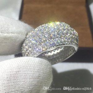 Hot Uphot Vecalon Weiseluxuxfrauen Ring pflastern Satz 320pcs Diamonique Cz Gelbgold für Frauen Männer 925 Silber Jahrestag Ehering gefüllt