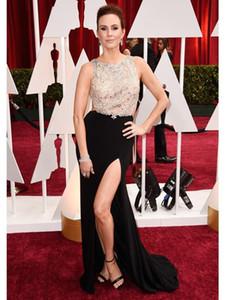 2019 Yeni Oscar Keltie Knight Ünlü Elbiseleri Kırmızı Halı Seksi Boncuklu Korse Örgün Elbise Yan Bölünmüş Cut Backless Gelinlik Modelleri