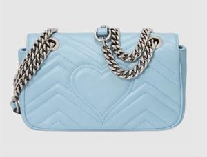 2020 neue Farbe Classic Leder Umhängetasche Silber Kette marmont Taschen Handtaschen Schulter-Tragetaschen