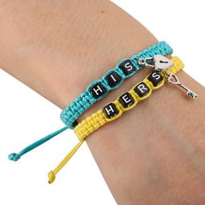 2pcs / pair coppia corda braccialetti di tessitura LEI LUI blocco lettere chiave Rope Catene regalo degli amanti fascino Handmade Bracciali Gioielleria a buon mercato