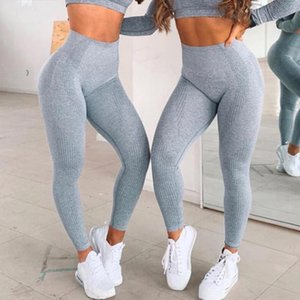 High Waist Yoga Pants for Women Solid Sports Gym Wear Leggings Elastic Fitness Lady Overall Full Tights Cycling Running Pants JXW634