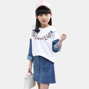 Children Denim Clothes Patchwork Girls Outfits Tshirt + Denim Skirt 2PCS Girls Sets Flower Embroidery Children's Costume