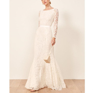 2019 Simple Ivory Lace Mermaid Wedding Dresses Floor Length Backless Wedding Gowns Long Sleeves Church Country Bridal Dress Robe De Mariée