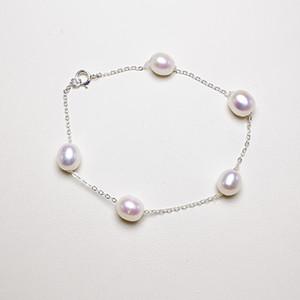 High Gloss braccialetto della perla delle donne di moda per i monili S925 Sterling braccialetto della perla d'argento 6-7mm fidanzata gioielli regalo