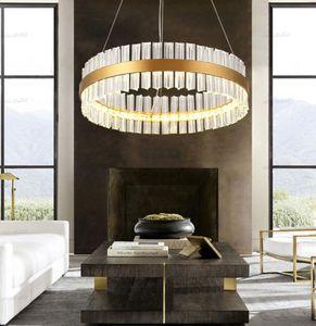 Luxury Diamond LED Chandelier Crystal Lamp Modern Crystal Light Fixture Circle Hanging Lustres LED Decorate Luminaire Home Light LLFA