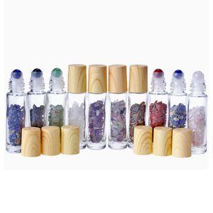 10ml en verre clair Roll On la bouteille de parfum avec pierre en cristal de cristal de quartz naturel Boule de grain de bois Couverture Essential bouteille d'huile DHL gratuit
