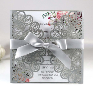 Elegant Silver Shiny Wedding Party Invitations with Ribbon 20+Color Laser Cut Fold Sweet Fifteen Birthday Invitation Card Marriage Invites