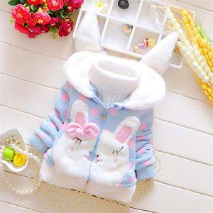 BibiCola Baby Girls Jacket Autumn Winter Coat For Girls Snowsuit Children Cartoon Rabbit Dots Hooded Outerwear Kids Outfits