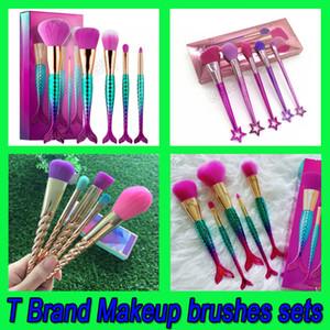.Pinceaux de maquillage ensembles cosmétiques pinceau 5 couleurs vives or rose spirale tige pinceau de maquillage sirène fée vis maquillage outils livraison gratuite