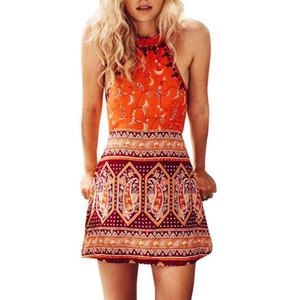 بوهو طباعة ملابس الشاطئ اللباس المرأة بيكيني التستر شاطئ صوفية تونك الصيف البسيطة اللباس أكمام ثوب السباحة الصلبة فستان الشمس