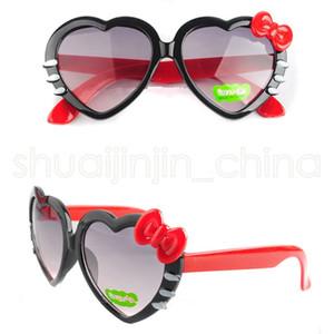 Çocuklar Kalp Güneş Karikatür Çocuk Gözlük Güzel ilmek Shades Moda Tam fFrame Sevimli Kız Gözlükler TTA-1044 Şeklinde