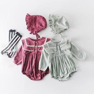 Bambina Designer Abbigliamento Pagliaccetto Manica lunga Manica Solida Pet Pan Collar Pagliaccetto Abbigliamento bambini 100% cotone primavera caduta ragazza abbigliamento
