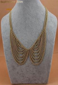 Moda Çok Katmanlı Zincir Püskül Kolye Altın Renk Kadınlar Için Yanlış Yaka Zincir Gerdanlık Kolye Kız Takı