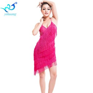 Backless Free Size Women Latin Costume Tasssel Ballroom Dance Performance Dress Salsa Outfits Fringe Party Dress V-neck