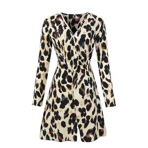 Bahar 19SS Kadın Şifon Elbise Yaz V Yaka Leopar Tasarımcı Lüks Elbiseler Sashes