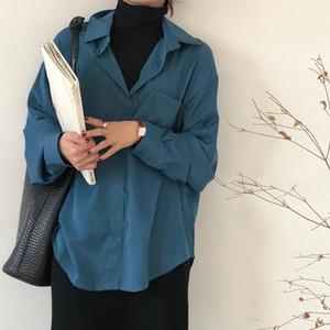 HziriP Мода Элегантный Поддельные Из Двух Частей Работы Базовая Рубашка Женщины Блузка 2020 Новая Весна Шить Свободные Водолазка Женские Блузки