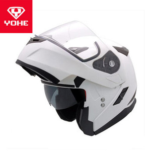 2019 New YOHE undrape face motorcycle helmet YH953 double lens Flip Up Motorbike helmets made of ABS PC Lens visor