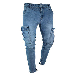 MYTL-Men Fashion Hip Pop Casual Thigh Pockets Stretch Skinny Jeans Slim Fit Denim Zipper Feet Pants Trousers