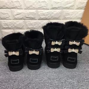 Mulheres novas de diamantes clássico de alta qualidade única ou dupla neve Botas Curva-nó de água Diamonds Crown quente e grosso couro de algodão Shoes