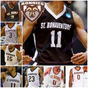St. Bonaventure Bona Bonnies Basketball Jersey NCAA Lofton Jaren Inglês Dominick Welch Osunniyi Winston Adams J. R. Bremer Lanier