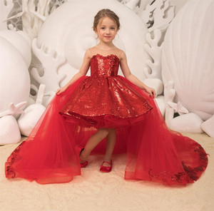 Vestidos del desfile de espumoso lentejuelas hinchada corto chica con vestido de cuello escarpado de fiesta de la princesa vestidos de tul desmontable del arco Tren muchachas de flor
