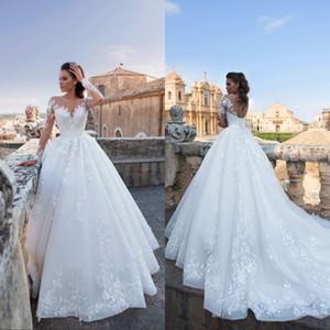Vestidos Vestidos de novia de corsé 2019 Modest Sheer manga larga Apliques A Line Vestidos de novia de novia con cordones en la espalda