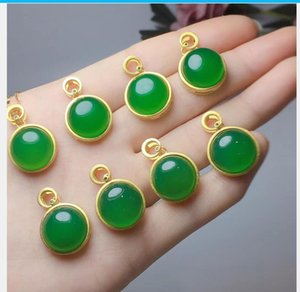 Natural emerald chalcedony pendant with free shipping X12