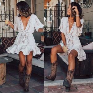 NEW 2020 Women Snake Skin Print Deep V-neck Dress High Waist Dress Summer Sundress