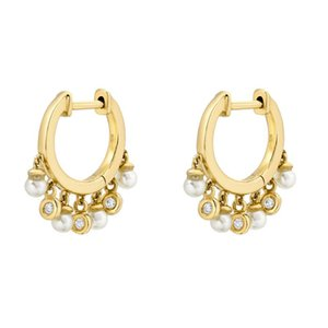 Cz Round Pearl ball bead Charm Hoop Earring Floating beads fashion women Pearl jewelry