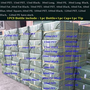 1000pcs 빈 E 액체 병 PETVape 주스 병 10 ml 15 ml 30 ml 50 ml 60 ml 100 ml 120 ml Plastic Dropper Childproof Caps