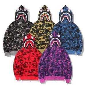 Unisex caliente púrpura Un Baño Un mono 19Bape Hombres Cabeza del tiburón Full Zip suéter con capucha camuflaje capa de la chaqueta de manga larga con capucha suéter