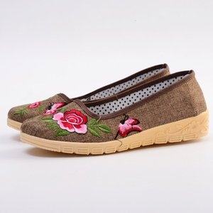 Fashion Women Flats Shoes Woman Espadrilles Ladies Slip-On Mother Flower Casual Breathable Walking Mom Embroidered Boat Shoes