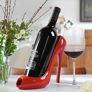 4 colores soporte High Heel la botella de vino del zapato del estante del vino escultura práctica Bastidores decoración del hogar Accesorios de alta calidad