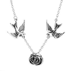 Gioielli di moda Swallows del doppio della Rosa Fiore Girocollo Collana Femminile semplice collare Chunky Neckalces ragazza delle donne del regalo degli accessori