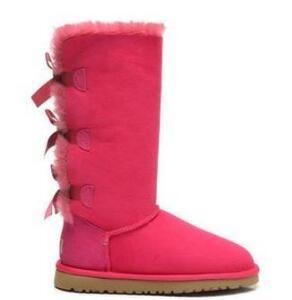 Noël Femmes Gilt Tous New Classic Tall Bottes d'hiver en cuir réel Bailey bowknot Femmes Bailey Bow Bottes neige Chaussures Boot US 5-14