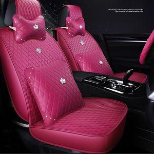 lunda Rosa PU-Leder Auto Universalgröße Frau Autositzbezüge Autoabdeckungen für Toyota Hyundai Kia BMW Wasserdicht 4 Farbe