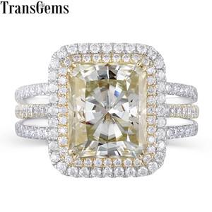Transgems 14k 585 amarillo y oro blanco Centro 4.5ct 9x11mm amarillo leve Radiant Cut Moissanite doble anillo de compromiso de Halo Y19032201