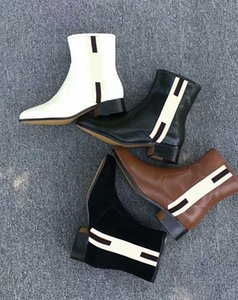 Kadın Deri ayakkabılar Eather yarım bot ve web bant yarım bot fabrika doğrudan dişi kaba topuk yuvarlak kafa sonbahar kış Martin Boots zip