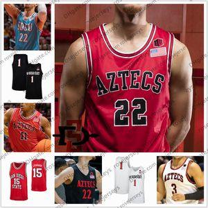 Individuelle San Diego State Aztecs 2020 Basketball # 22 Malachi Flynn 11 Matt Mitchell 5 Yanni Wetzell Schakel Männer Jugend Kid SDSU Trikots 4XL
