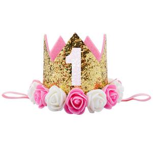 Pudcoco bébé nouveau-né 1er anniversaire Glitter Hat Flower Crown Bandeau Party Band cheveux Couvre-chef cadeau