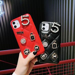럭셔리 패션 블링 진주 다이아몬드 꽃 향수 병 양가죽 소프트 PU 가죽 케이스 커버 아이폰 (11) 프로 XS 최대 XR X 8 7 플러스 SE