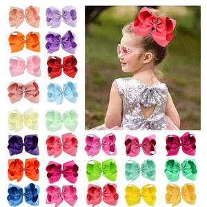 40 Cores 6 Inch Fashion Baby Ribbon Bow clips Girls Large Bowknot Barrette Candy color children's Boutique Hair ornament T9I00272