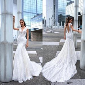 New Design Mermaid Wedding Dresses Long Sexy Deep V Neck Lace Beads Crystals Bridal Gowns Sweep Train Bridal Wedding Dress BC1950