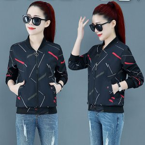 New Spring Autumn Thin Women Jacket Casual Basic Coat Pocket Zipper Jackets Print Female Windbreaker Loose Outwear Plus Size 4XL
