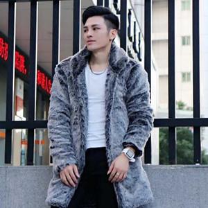 Clobee Homens faux fur Coats 2020 homens inverno Faux longo Overcoats Plus Size Thicken Aqueça Zipper Grey Fur Jackets M735