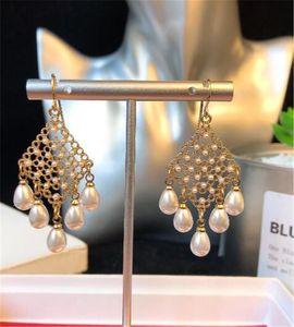 jóias europeu, brincos de ouro 18k encanto simples pérola dangle brincos de casamento de Mulheres dangle brincos de ouro