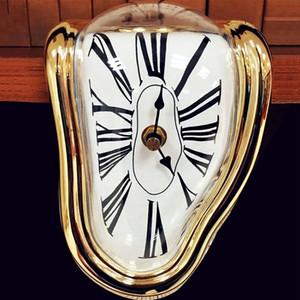 Erime Saat, Blok-Tipi Twisted Saat, Dekoratif Ev Ofis Raf Danışma Masa Komik Yaratıcı Hediyesi için Erimiş Saat, Altın