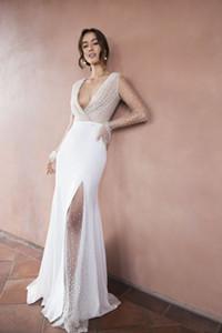 Boîte à manches longues à manches longues pleines de dentelle robes de mariée Bohemian élégant fond en V au cou longue Beach Boho Country Robe de mariée 2816