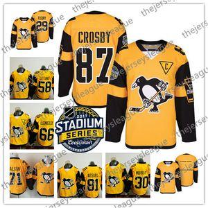 Benutzerdefinierte 2017 Stadium Series alte Marke gelbe Trikots # 87 Crosby Malkin Kessel Letang Murray Pittsburgh Pinguine Hockey Mens Womens Youth
